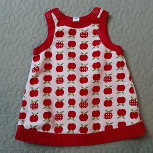 Baby gap pink and red apple print dress 3-6 m